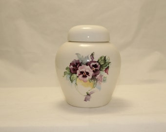 Pansy Cremation Urn, Ceramic Jar with Lid,Keepsake Cat Dog or Pet Urn, art pottery, handmade with purple flowers ashes container