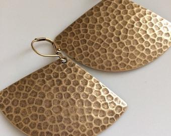 Large Brass Triangle Earrings  Bohemian Earrings Boho Earrings  Oxidized Brass  Gypsy Dangles