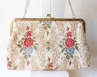 Tapestry Purse, Vintage Evening Bag, Tapestry Evening Bag, Tapestry Clutch Bag, Classic Style, Hand Made Hong Kong, EB-0354