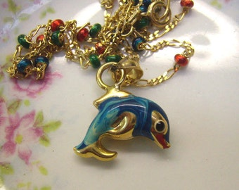 Summer Sale...Vintage 14K Gold Dolphin/Whale Pendant...14K Enamel Fish....14K Gold Chain...Colored Glass Beads...Fits Smaller Neck