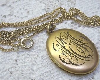 Summer Sale...Victorian Gold Oval Locket/Necklace...Monogrammed...Signed PIONEER...Locket Inserts...Photo Covers