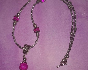 Pink or Purple and Silver Beaded Necklace