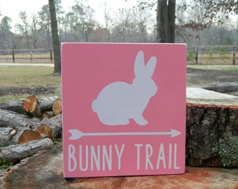 Bunny Trail Wooden Shelf Sitter Sign - Easter - 6 Different Color Combinations! - Easter Bunny