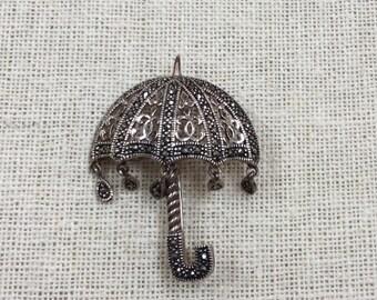 Vintage 925 Sterling  Silver Marcasite Umbrella Brooch/PIn!!