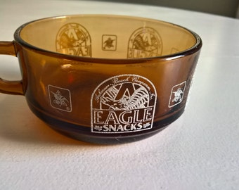 Vintage Anheuser-Busch Eagle Snacks Amber Anchor Hocking Glass Mug Bowl --- 1970's 1980's Football Father's Day American Beer Collectable