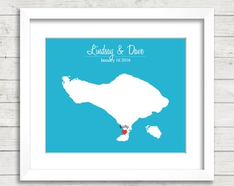 8x10 Bali Love Map - Kuta, Bali, Indonesia - Love Map - Destination Wedding - Bali Honeymoon - Engagement Gift - Newlyweds
