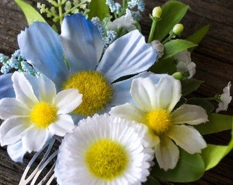 Faux Floral Bridal Hair Comb, Artificial Silk Flower Girl or Bridesmaids Hairpiece, Blue, White, Yellow, and Green Daisy Hair Clip