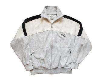 SALE vintage puma track jacket white and gray colorblock throwback retro puma fleece zip up 80s 90s sportswear