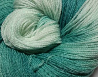 Winter mint Hand Dyed Ombre/Gradient Superwash Merino Sock Yarn
