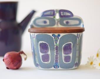 Aluminia / Royal Copenhagen - SALT BOX with wooden lid - Butterfly Motif - 180/261 - Inge Lise Koefoed - midcentury