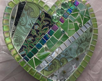 Recycled stained glass heart shaped hanging plaque.  Unique handmade gift.  Mother's Day present. Wedding Gift. Wall art.