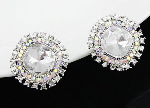 "Big Crystal Zircon Stone Prom Bridal Wedding Gauges tunnels Plugs 11/16"" 3/4"" 17mm 19mm"