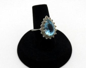 vintage faux diamond and aquamarine ring - size 5.25