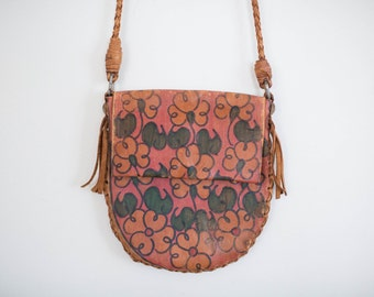 LEATHER purse leather CROSSBODY pouch purse vintage leather boho hippie floral shoulder bag PURSE