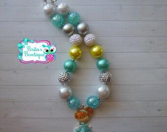 Girls Adorable Cinderella Rhinestone Chunky Bubblegum Bead Necklace - Birthday Party, Photo Props