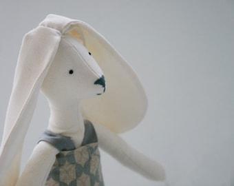 Bunny Baby Cloth Rabbit  Spring Hare Textile  Animal Doll Nursery Decor Flower Girl Gift  Shabby Chic Blue Patterned Dress/ Etsy UK
