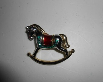 Vintage Christmas Rocking Horse Pin Brooch Jewelry