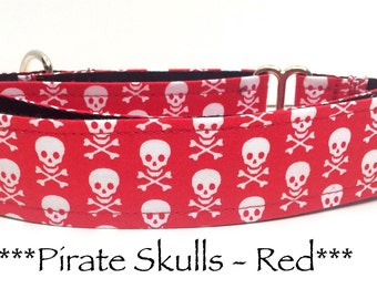 Martingale Dog Collar, Dog Collar, Adjustable Dog Collar, Buckle Dog Collar, Pirates, Tough, Pirate Skulls in Red