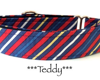 Martingale Dog Collar, Buckle Dog Collar, Dog Collar, Quick Release Dog Collar, Blue Stripes, Red Stripes, Preppy, Teddy