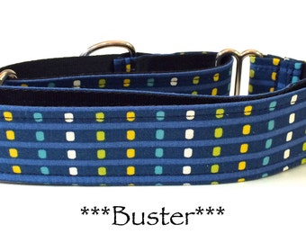 Martingale Dog Collar, Buckle Collar, Adjustable Dog Collar, Custom Dog Collar, Geometric dog collar, Blue Dog Collar, Dots, Buster