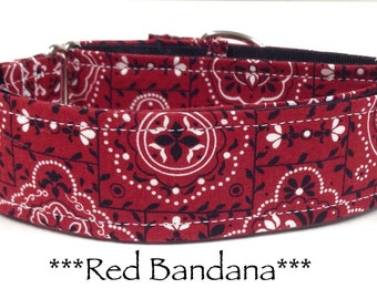 Martingale Dog Collar  - Bandana Red