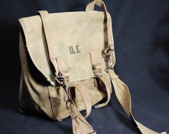 Vintage World War II Canvas Messenger/Shoulder Bag