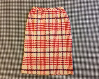 1970's, woven, wool, skirt, in off white, red and navy plaid, Women's size Small