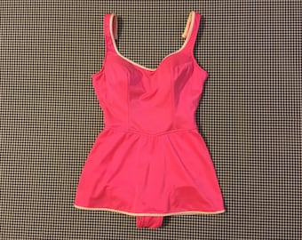 1960's, Skirted, bathing suit, in shimmery, hot pink, by Catalina, Women's size 14