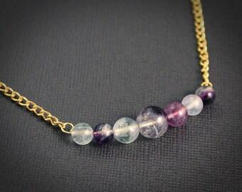 Amethyst Fluorite Nebula Necklace - Gold