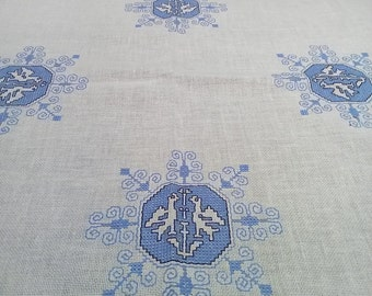 White Cotton Tablecloth. Embroidered table cloth. Blue embroidery. Swedish vintage 1970s.