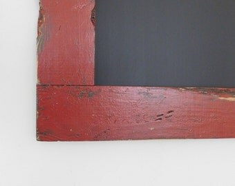 Large Chalkboard / Chalk board Framed in Vintage Look Distressed Wood Shown in Barn Red 24 x 36 *READY TO SHIP*