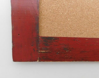 LONG SKINNY Bulletin Board - Cork Board - Rustic Wood - Distressed - Shown in Vintage Red - 24 x 54 - More Colors Available
