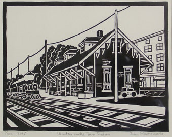 Windsor Locks Train Station,  Woodblock print, print only