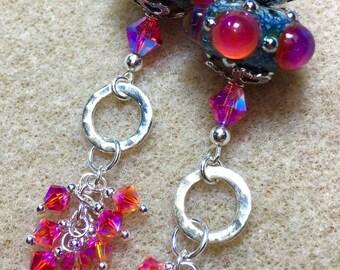 Artisan Lampwork, Swarovski crystals and Sterling Silver Earrings.