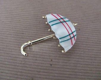 Vintage Umbrella Brooch, Pin, 1960's Mother of Pearl Umbrella Brooch, NOS 1960's Brooch, Jewelry
