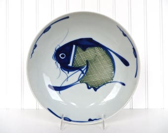 "Large Chinese Blue And White Koi Fish Serving Bowl, 10 1/2"" Chinoiserie Carp Low Profile Bowl, Vintage Blue And White Large Serving Dish"