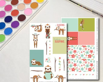 Sloth Planner Sticker Sheets, The Ones with Little Sloths Mini Kit, Whimsical Cute Animals, Erin Condren, Traveler's Notebook