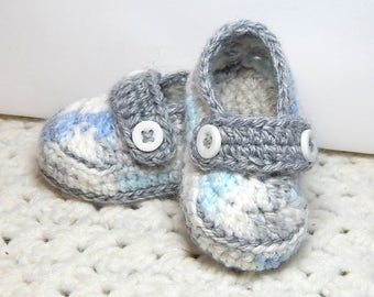 Loafer Booties-Gray, Blue & White-Newborn-Crocheted-Handmade with love.