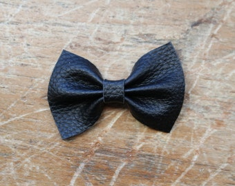 black leather bow hair clips