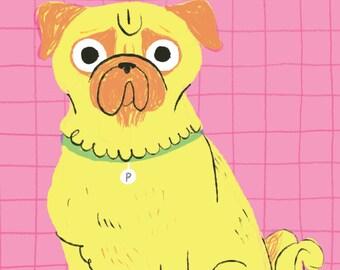 P is for Pug! Children's Art Mini Print/Postcard