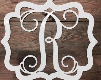 Oak Alley-Single Vine Initial in Fancy Frame-Metal Sign
