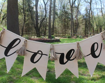 Love Pennant Banner | Wedding Banner | Valentines Decor | Canvas Pennant | Wall decor| FREE SHIPPING