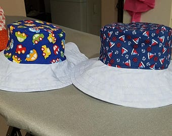 Sailboat and Cars Reversible Bucket Hat