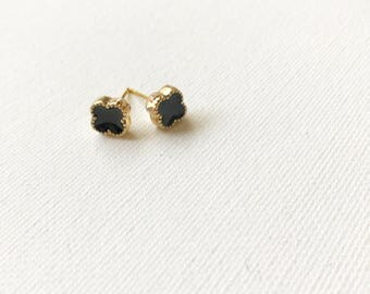 Black Quatrefoil Stud Earrings
