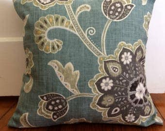 Jacobean Pillow Cover, 18''x18'' Jacobean Floral Pillow Cover, Decorative Pillow Cover