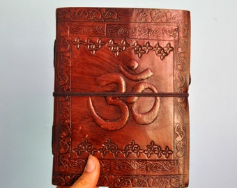 Decorative Leather Bound Journal // natural recycled paper