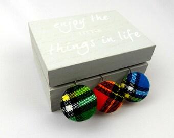 Green Maasai fabric Covered earrings