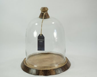 Glass Cloche with Wooden Base, Season Extended, Plant Protector, Tepee, Plant Cover, Glass Dome, Orchid Glass Cover, New,  Never Used