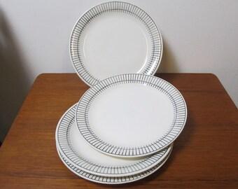 Set of 4 dinner plates Upsala Ekeby Gefle Sweden RONDO design Berit Ternell 50's Mid-Century