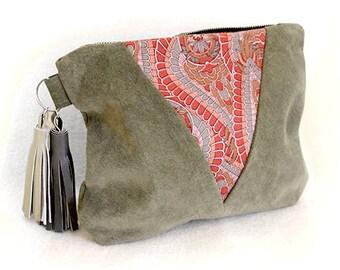 SALE Khaki Green Suede Clutch Bag/Purse